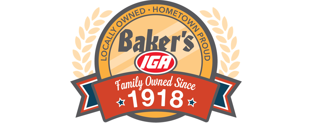 A theme logo of Baker's IGA